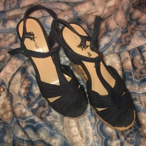 Denim and Wicker Wedges- American Eagle size 7